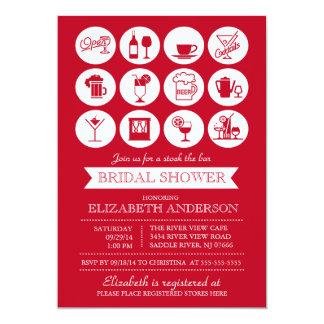 """Retro Red Stock the Bar Bridal Shower Invitation 5"""" X 7"""" Invitation Card"""