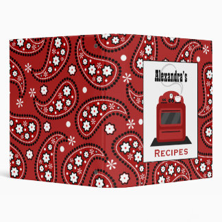 Retro Red Stove & Paisley Kitchen Recipe Binder