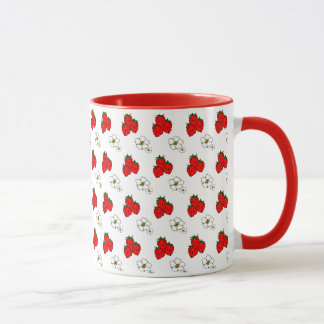 Retro Red Strawberry and Flower Pattern Mug