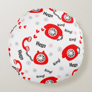 Retro Red Telephone Fun Cute Ditsy Fabric Print Round Pillow