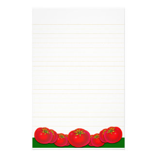 Retro Red Tomatoes Lined Stationery