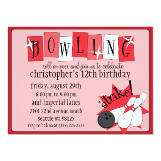 Retro Red Totally Retro Bowling Birthday Party 6.5x8.75 Paper Invitation Card