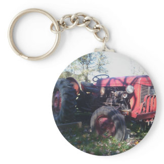 Retro Red Tractor Keychain
