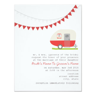 Retro Red Trailer Wedding Invitation