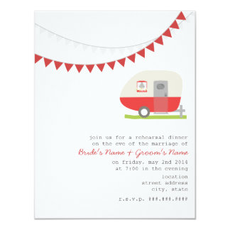 Retro Red Trailer Wedding Rehearsal Dinner 4.25x5.5 Paper Invitation Card