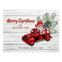 Retro Red Truck Gnomes Christmas Holiday Greeting Postcard