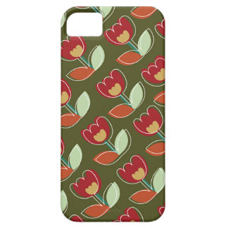 Retro Red Tulips Flowers Pattern Fun Trendy Chic iPhone 5 Covers