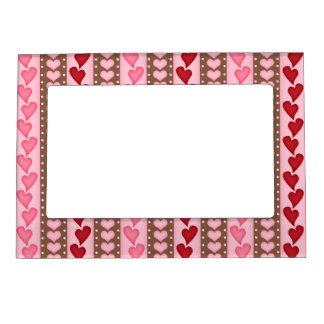 Retro Red Valentine Heart Pattern Picture Frame Magnets