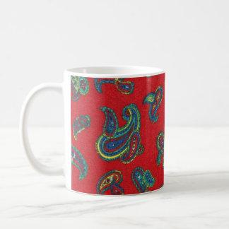 Retro red vintage paisley pattern mug
