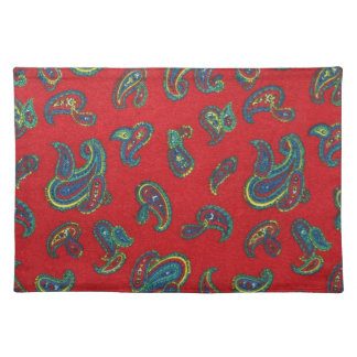 Retro red vintage paisley pattern placemat