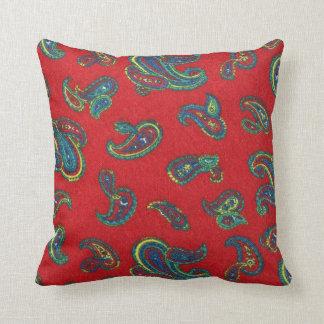 Retro red vintage paisley pattern throw pillow