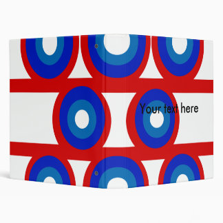 Retro red white and blue circle's 3 ring binders