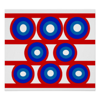 Retro red white and blue circle's posters