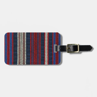 Retro Red White and Blue Hipster Fun Striped Tag For Luggage