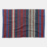 Retro Red White and Blue Hipster Fun Striped Towel