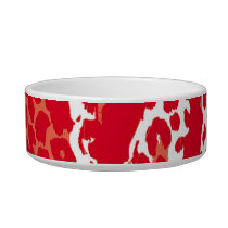 Retro red white animal print texture of leopard bowl