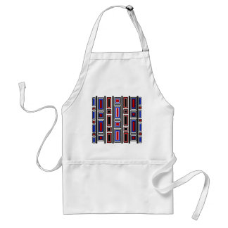 Retro red white black and blue rectangle pattern adult apron