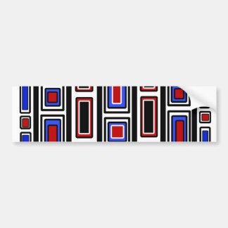 Retro red white black and blue rectangle pattern car bumper sticker