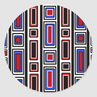 Retro red white black and blue rectangle pattern classic round sticker