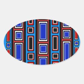 Retro red white black blue rectangle pattern oval sticker