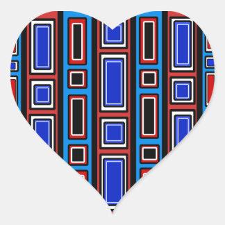 Retro red white black blue rectangle pattern heart sticker