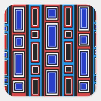 Retro red white black blue rectangle pattern square sticker