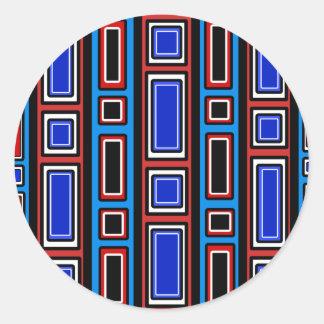Retro red white black blue rectangle pattern classic round sticker