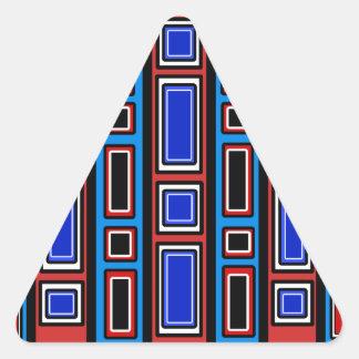Retro red white black blue rectangle pattern triangle sticker