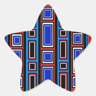 Retro red white black blue rectangle pattern star sticker