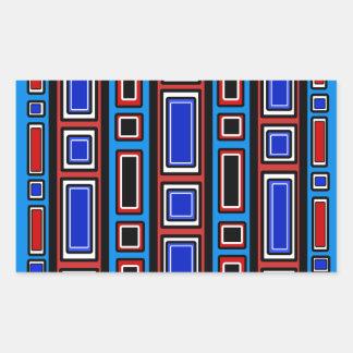 Retro red white black blue rectangle pattern rectangular sticker