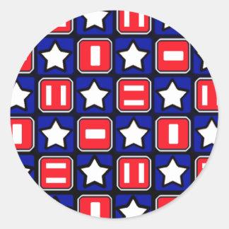 Retro Red White & Blue Classic Round Sticker