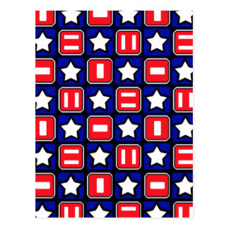 Retro Red White & Blue Post Card