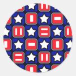 Retro Red White & Blue Round Stickers