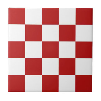 "Retro Red & White Checkers Ceramic Tiles 4.25"" sq"