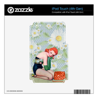 Retro Redhead Pin-up Girl iPod Touch 4G Skins