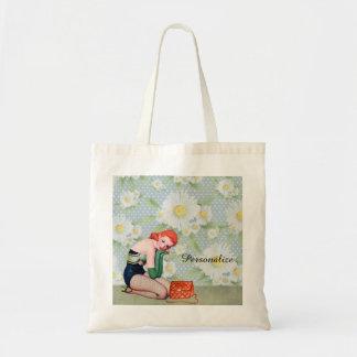 Retro Redhead Pin-up Girl Tote Bag