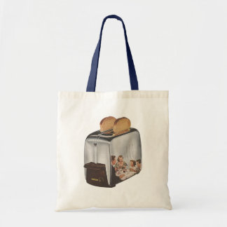 Retro Reflection in Vintage Toaster Toast Tote Bag