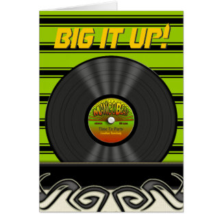 Retro Reggae Vinyl Record Personalized Cards