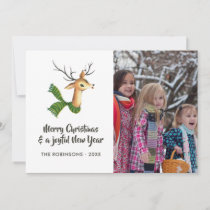 Retro Reindeer Burlap Christmas Family Photo Holiday Card
