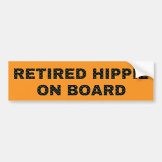 Retro Retired Hippie On Board Bumper Sticker