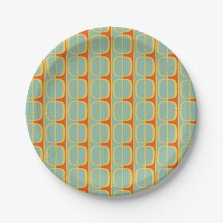 Retro Retro Squares and Stripes Paper Plate