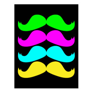 Retro RGB Fluo Moustaches Postcard