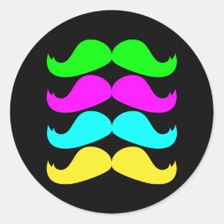 Retro RGB Fluo Moustaches Classic Round Sticker