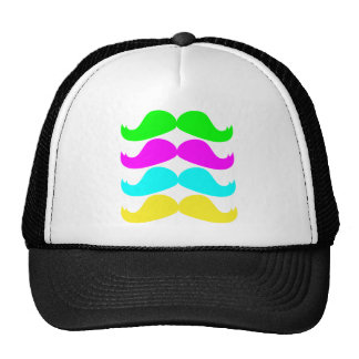 Retro RGB Fluo Moustaches Trucker Hat
