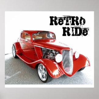 Retro Ride  - Antique Classic Red Car Poster