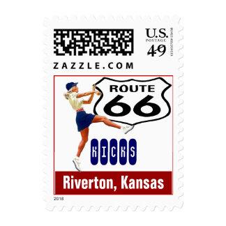 Retro Riverton Kansas Kick Travel Route 66 Vintage Postage