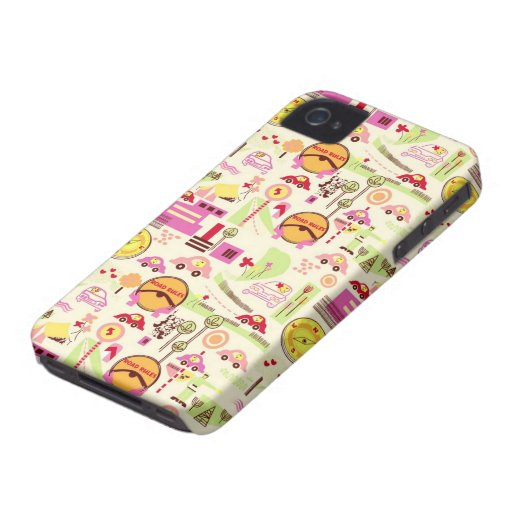 retro road rules and cars pattern iPhone 4 cases