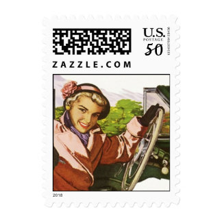 Retro road trip travel mail stamp Postage Stamps