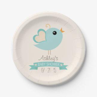Retro Robin's Egg Blue Love Bird Baby Shower 7 Inch Paper Plate