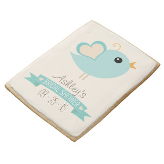 Retro Robin's Egg Blue Love Bird Bridal Shower Jumbo Cookie